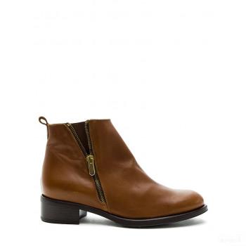Abril Flowers Boots en cuir cognac Online Store