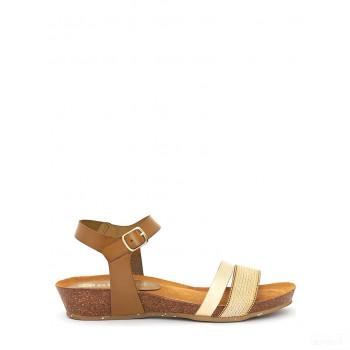 Abril Flowers Sandalettes en cuir marron clair/doré Online Acheter