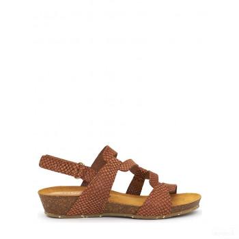 Abril Flowers Sandalettes en cuir cognac Online Soldes
