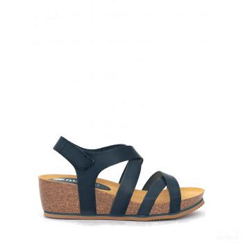 Abril Flowers Sandalettes compensées en cuir bleu foncé Meilleures ventes