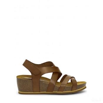 Abril Flowers Sandalettes compensées en cuir marron foncé Online France
