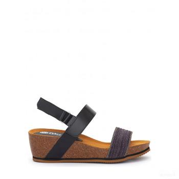 Abril Flowers Sandalettes compensées en cuir noir 2020 Outlet
