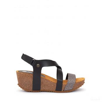 Abril Flowers Sandalettes compensées en cuir noir/argenté France Vente