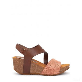 Abril Flowers Sandalettes compensées en cuir marron/rose Mode Online