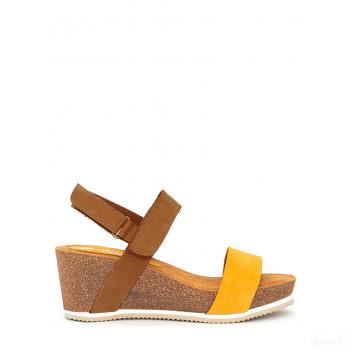 Abril Flowers Sandalettes compensées en cuir marron clair/jaune Dégagement