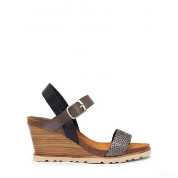 Abril Flowers Sandalettes compensées en cuir noir/gris 2020 Sale