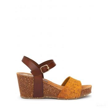 Abril Flowers Sandalettes compensées en cuir marron/jaune Online Acheter