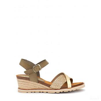 Abril Flowers Sandalettes compensées en cuir beige Outlet Online