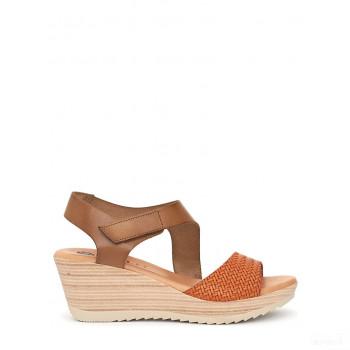 Abril Flowers Sandalettes compensées en cuir marron clair/orange Vente en ligne