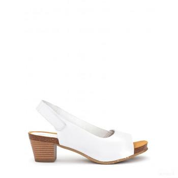 Abril Flowers Sandalettes en cuir blanc Vente en ligne