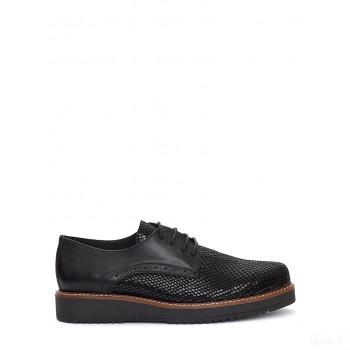 Abril Flowers Chaussures à lacets en cuir noir/argenté En ligne Shop