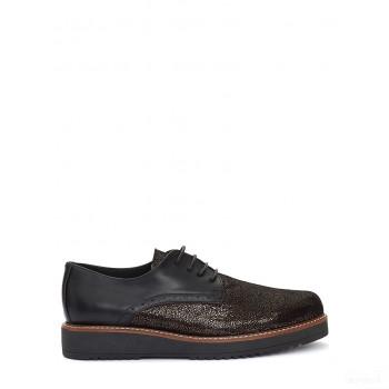 Abril Flowers Chaussures à lacets en cuir noir/doré Vente chaude