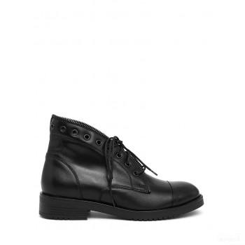 Abril Flowers Chaussures à lacets en cuir noir 2020 Outlet