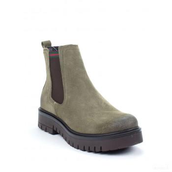 Abril Flowers Boots chelsea en cuir kaki Online Store