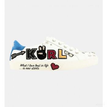 Karl Lagerfeld Baskets Basses Tennis Skool Karl Blanc Vente Pas Cher