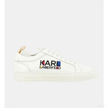 Karl Lagerfeld Baskets Basses Cuir Logo Blanc Mode Online