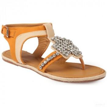 La Modeuse Sandale Bi-matière Et Strass Camel Sandales Et Nu-pieds La Modeuse Online Vente