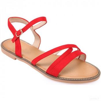 La Modeuse Sandales Rouges à Brides Croisées Sandales Et Nu-pieds La Modeuse Vente en ligne