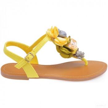 La Modeuse Nu-pieds Jaunes En Suédine Avec Fleurs Sandales Et Nu-pieds La Modeuse Online Boutique
