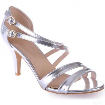 La Modeuse Sandales Argentées à Talon Fin Grandes Tailles Sandales Et Nu-pieds La Modeuse Mode Online