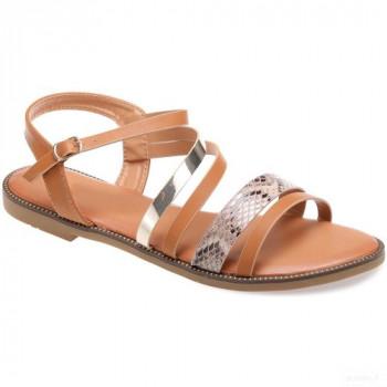 La Modeuse Sandales Camel à Multibrides Bi-matière Grandes Tailles Sandales Et Nu-pieds La Modeuse Online Boutique