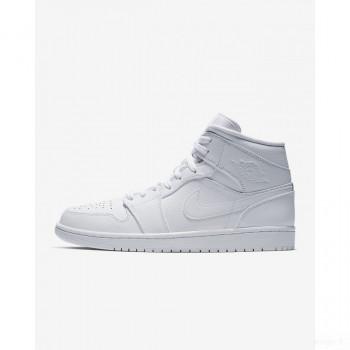 Nike - Air Jordan 1 Mid 554724-129 Blanc Vente Pas Cher