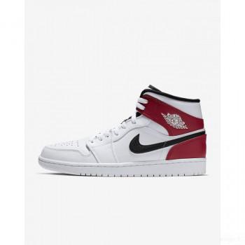 Nike - Air Jordan 1 Mid 554724-116 Blanc En Soldes