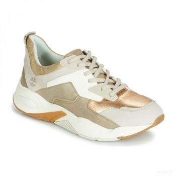 Timberland Delphiville Leather Sneaker Doré Baskets Basses Femme Grosses soldes
