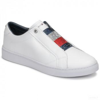 Tommy Hilfiger Crystal Leather Slip On Sneaker Blanc Baskets Basses Femme Online Store