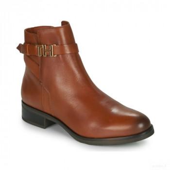 Tommy Hilfiger Th Hardware Leather Flat Bootie Cognac Boots Femme Remise Vente