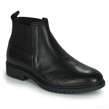 Tommy Hilfiger Flexible Dressy Leat Noir Boots Femme Vente Pas Cher