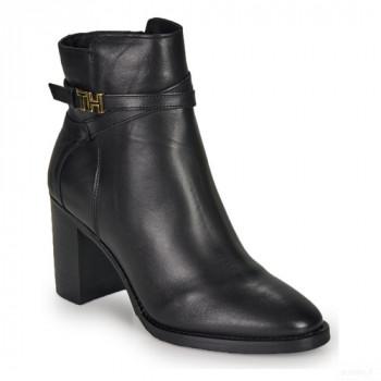 Tommy Hilfiger Th Hardware Leather High Bootie Noir Bottines Femme Outlet en ligne