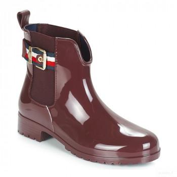 Tommy Hilfiger Corporate Belt Rain Boot Prune Bottes De Pluie Femme Meilleures ventes