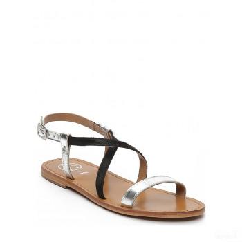 Whitesun Sandales en cuir Recife noir/argenté Online Boutique