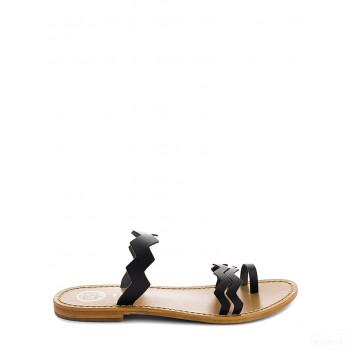 Whitesun Sandales à bride en cuir Galgala noir Online Acheter