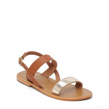 Whitesun Sandales en cuir Bursa marron clair/doré Mode Online